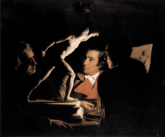 Three Persons Viewing the Gladiator by Candlelight. Joseph Wright of Derby. Behold the human! Examine the worry at their core.