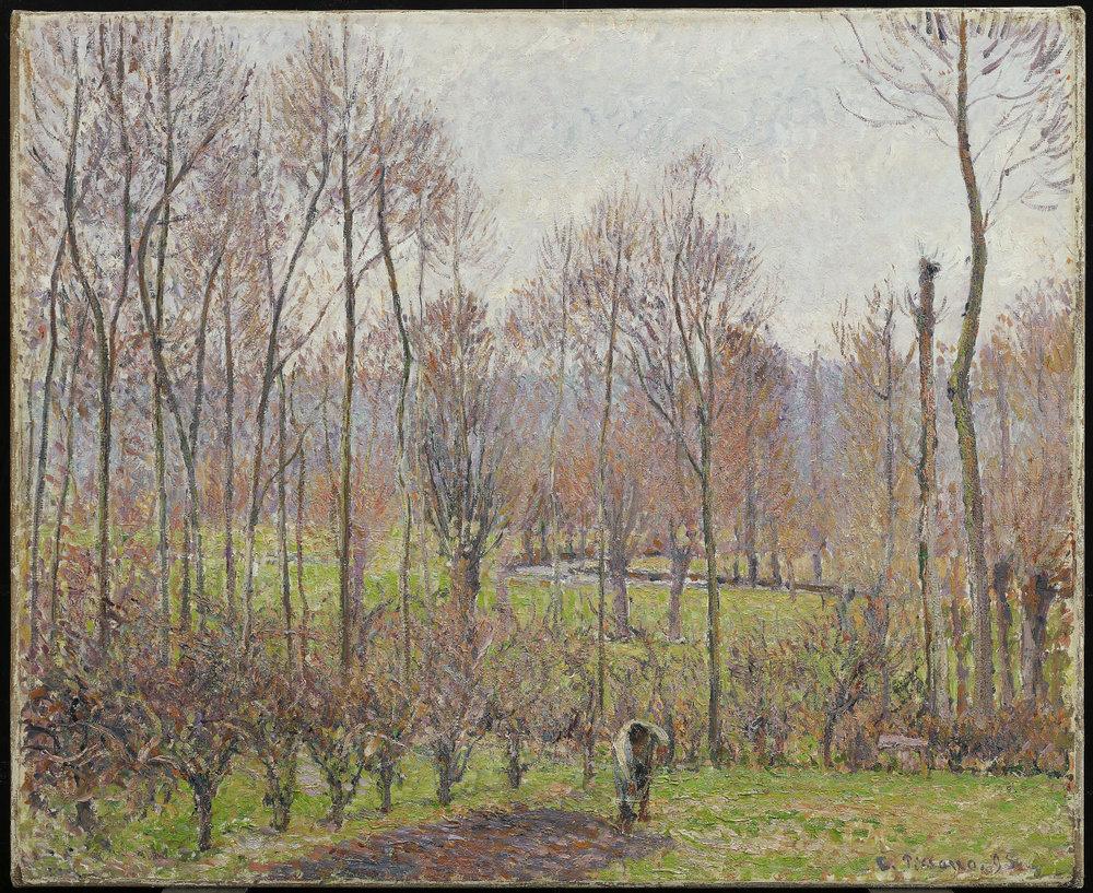 Peupliers, temps gris, Éragny. Camille Pissarro.