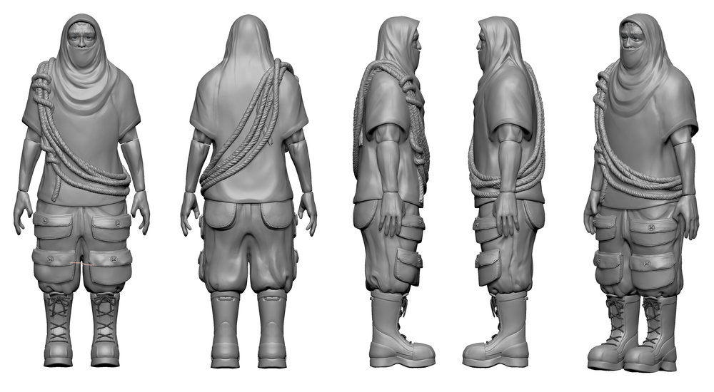Figure Sculpted in Zbrush for a workshop with Hasbro. Includes working joints.
