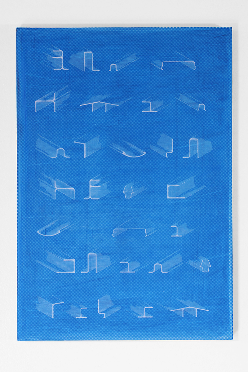 Graham McDougal and Elizabeth Corkery, the Modern Interior  at  Firstdraft ,  Aluminium Sections , silkscreen and acrylic on panel, 16.75 x 11inches, 2014