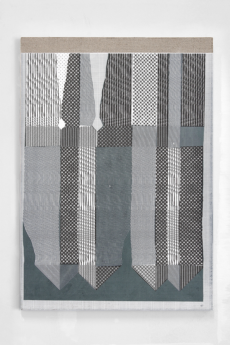 Hotzestrasse 23,  silkscreen ink on canvas mounted to panel, 23 x 16.5 inches, 2013