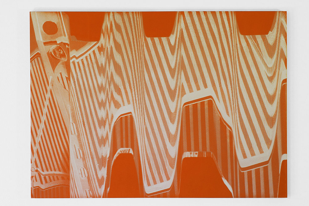Graham McDougal and Elizabeth Corkery    the Modern Interior   at  Firstdraft   silkscreen ink and acrylic on panel  16.75 x 22 inches  2014