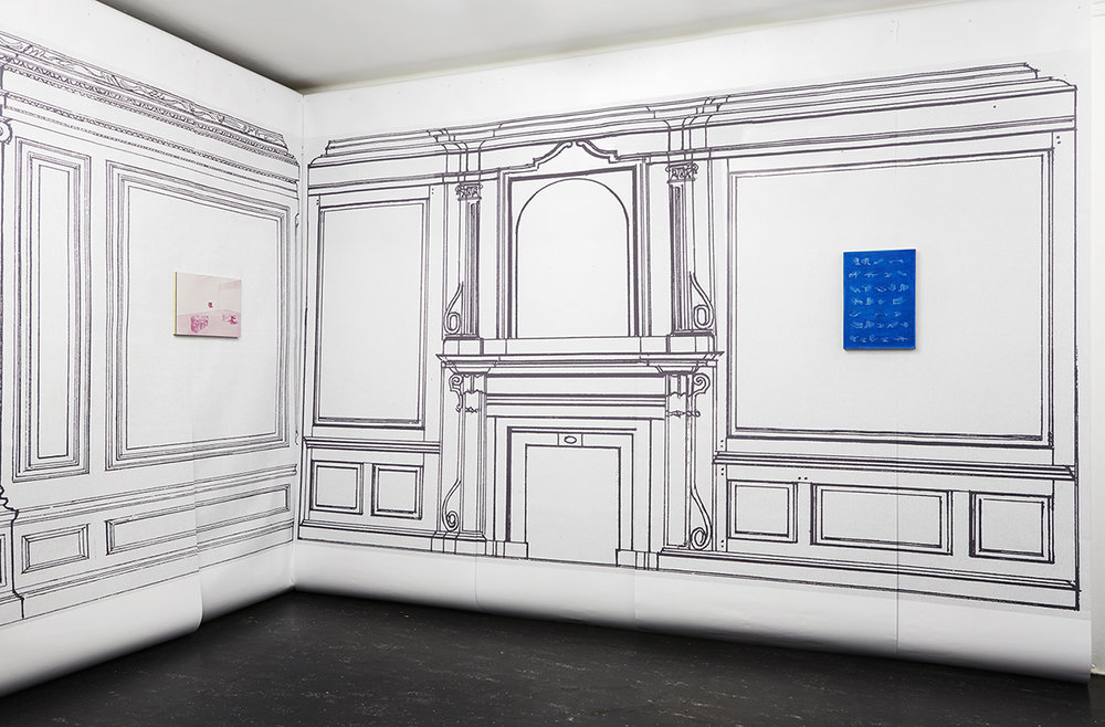 Graham McDougal and Elizabeth Corkery    the Modern Interior   at  Firstdraft   Installation view, silkscreen ink and acrylic on panel inkjet print on paper, dimensions variable  2014