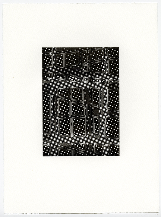 Untitled (AR 265-282 May 81)   letterpress on Somerset textured paper  (color suite including four impressions in black)  plate 8.25 x 5.75  paper 15 x 11 in  2015