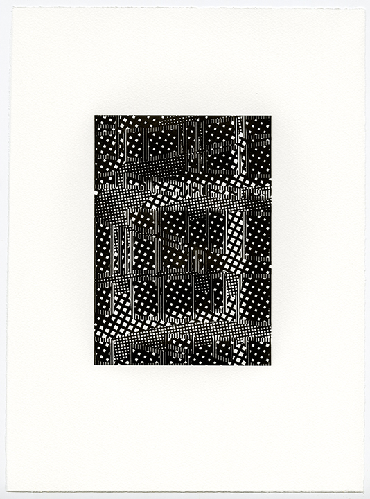 Untitled (AR 265-282 May 81)   letterpress on Somerset textured paper  (black suite)  plate 8.25 x 5.75  paper 15 x 11 in  2015
