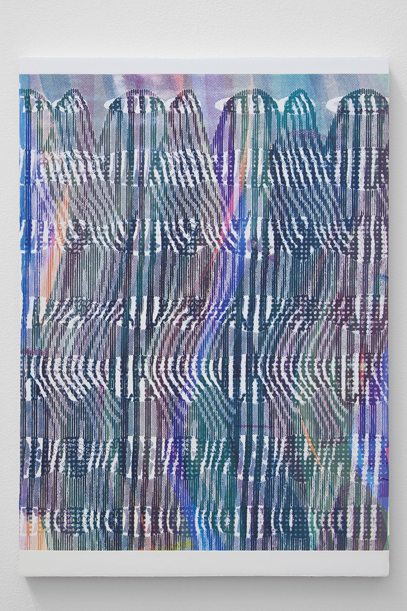 Casting    acrylic and silkscreen ink on gessoed panel  22 x 17 inches  2017