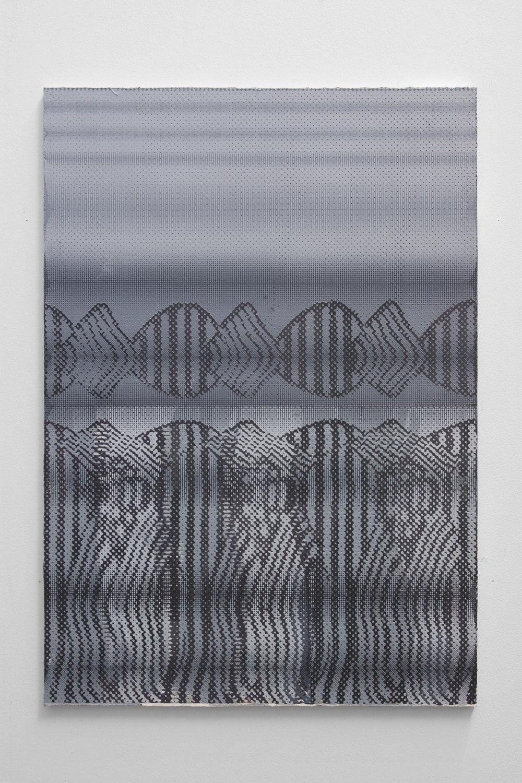 Graham McDougal,  Carpenters , 33x23 inches, acrylic, silkscreen, on linen mounted to panel, 2018.