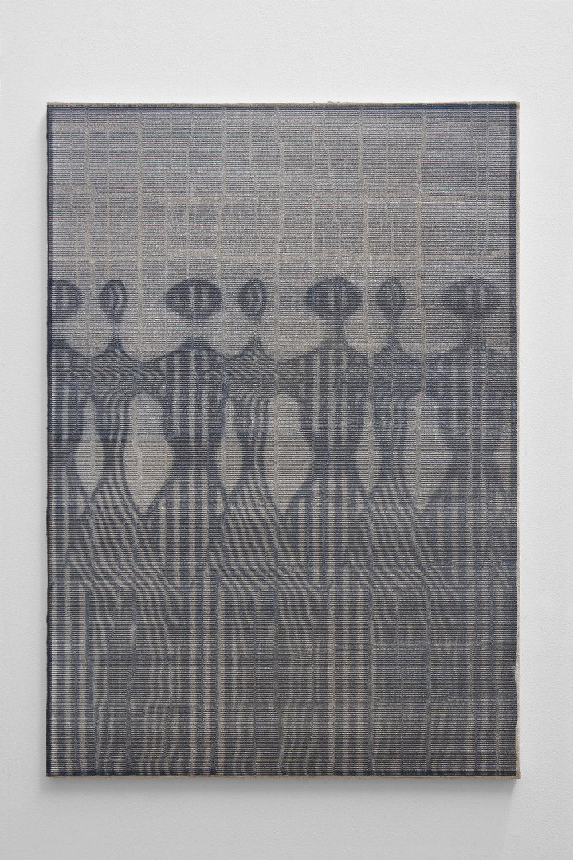 Graham McDougal,  Mowers , 33x23 inches, acrylic, silkscreen, on linen mounted to panel, 2018.