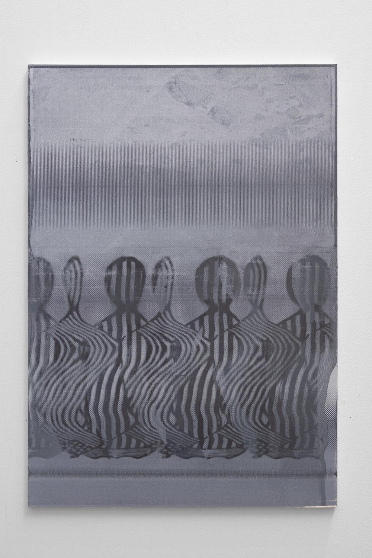 Graham McDougal,  Woodcutters , 33x23 inches, acrylic, silkscreen on panel, 2018.
