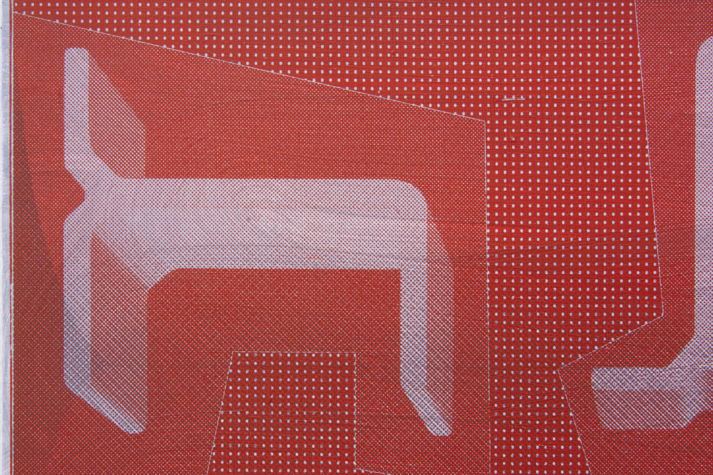 detail -  Aluminium Sections 3 , acrylic and screen print on panel,22x17in. 2019