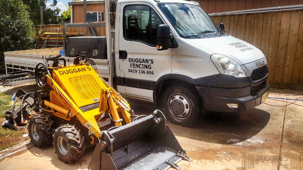 Duggans Fencing truck and digger
