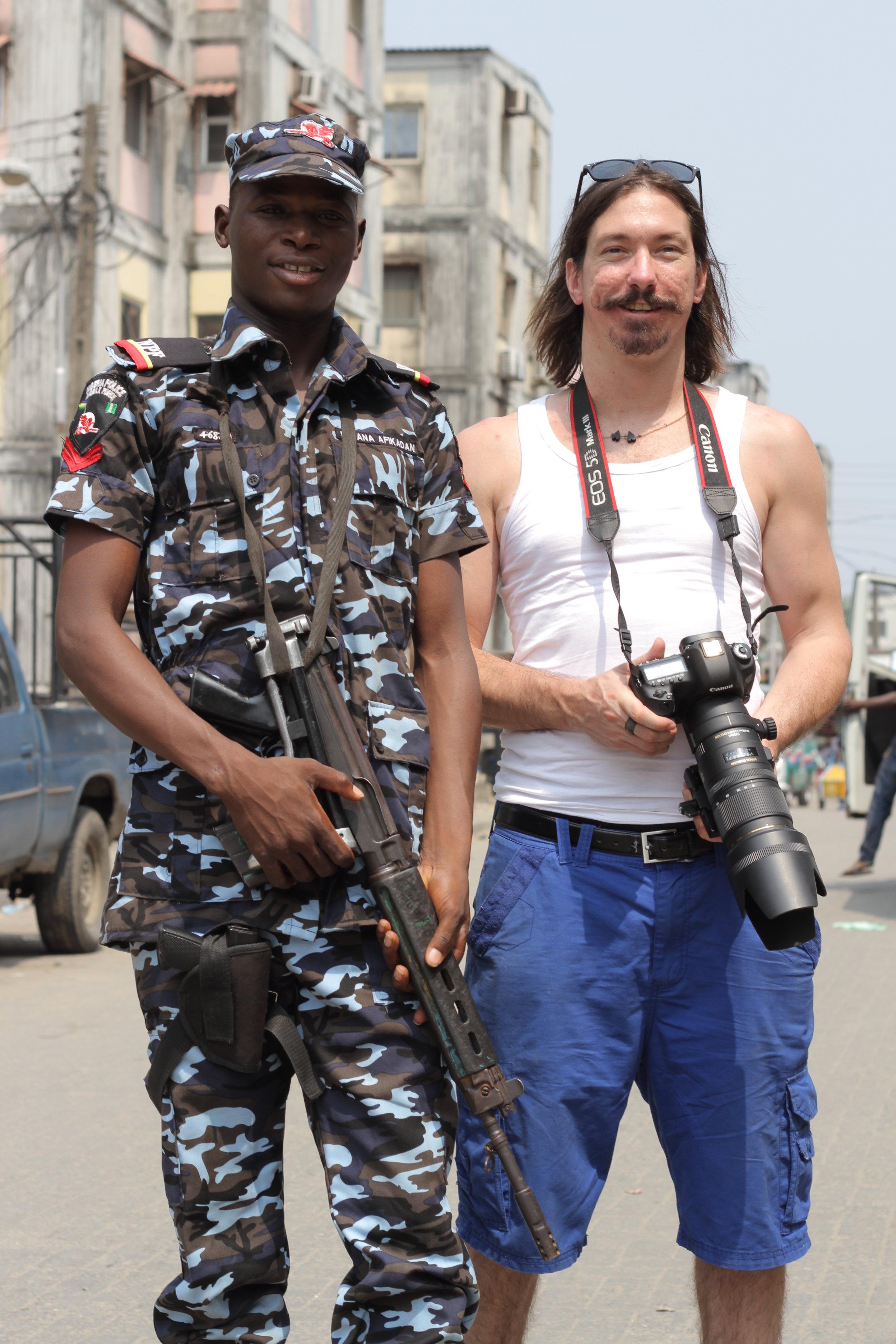 Mark with Elkana, our police escort