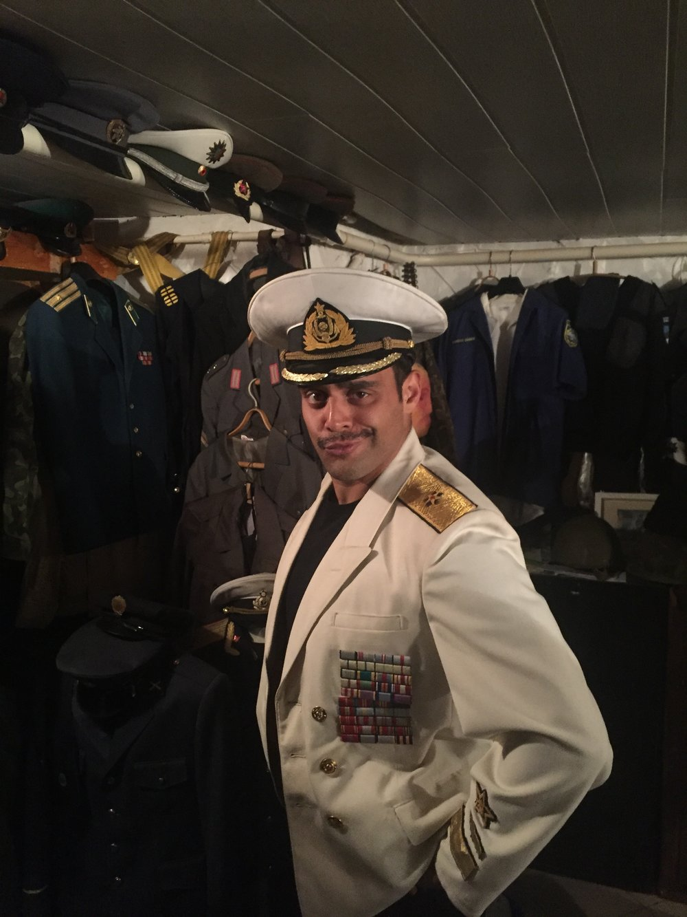 """Cultural exploration"" in Estonia. Wearing a Soviet admiral's uniform."