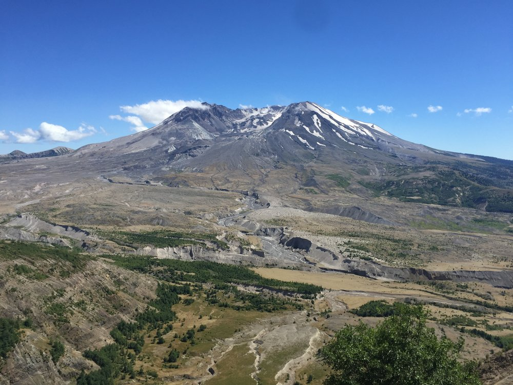 Mt St Helens. It was a cone until the explosion in 1980.
