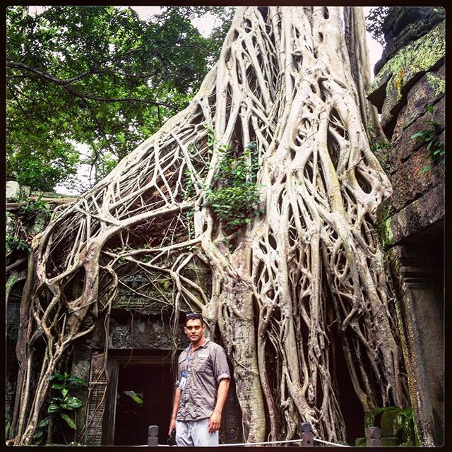 This is Ta Prohm; an old Hindu temple near Angkor Wat in Cambodia, which I was lucky enough to visit in 2013. 🇰🇭 🇰🇭 🇰🇭 It was built by the Angkorian Kingdom, a civilisation that once spread across the entire region. I met the team mapping the jungle using LIDAR, which detects patterns such as roads through the forest canopy of the Phnom Keulen plateau. Their discovery of another ancient city, far bigger than anything they had previously imagined, completely altered our view of the region's human history. ••• This is also where some of Lara Croft: Tomb Raider was filmed. Angelina Jolie developed a deep bond with the country, and eventually adopted her son, Maddox, from here. I'm working on my Angelina pout.