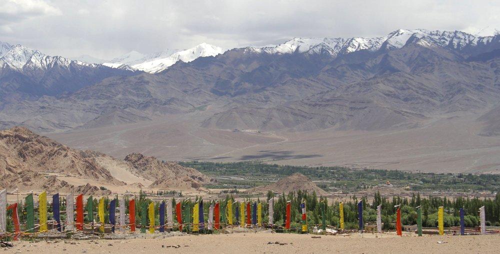 Prayer flags overlook the Indus Valley, Ladakh.