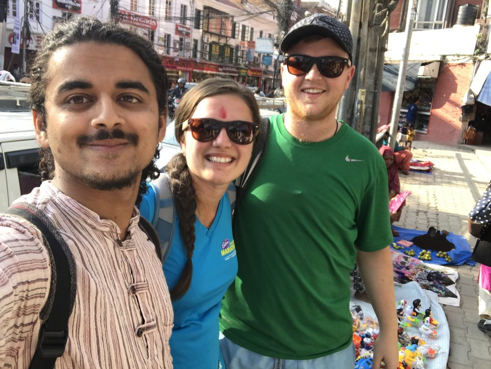Prabin, myself and Boy on our second day in kathmandu, looking at the city sights