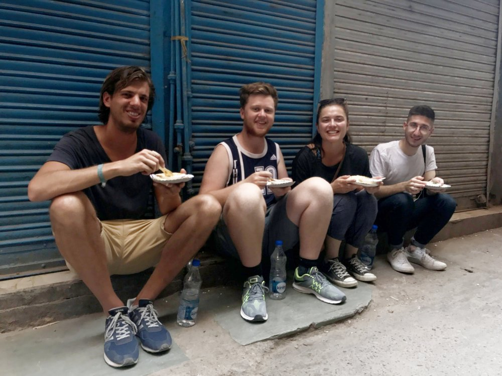 breakfast in old delhi! left to right: paul, boy, me and ollivier