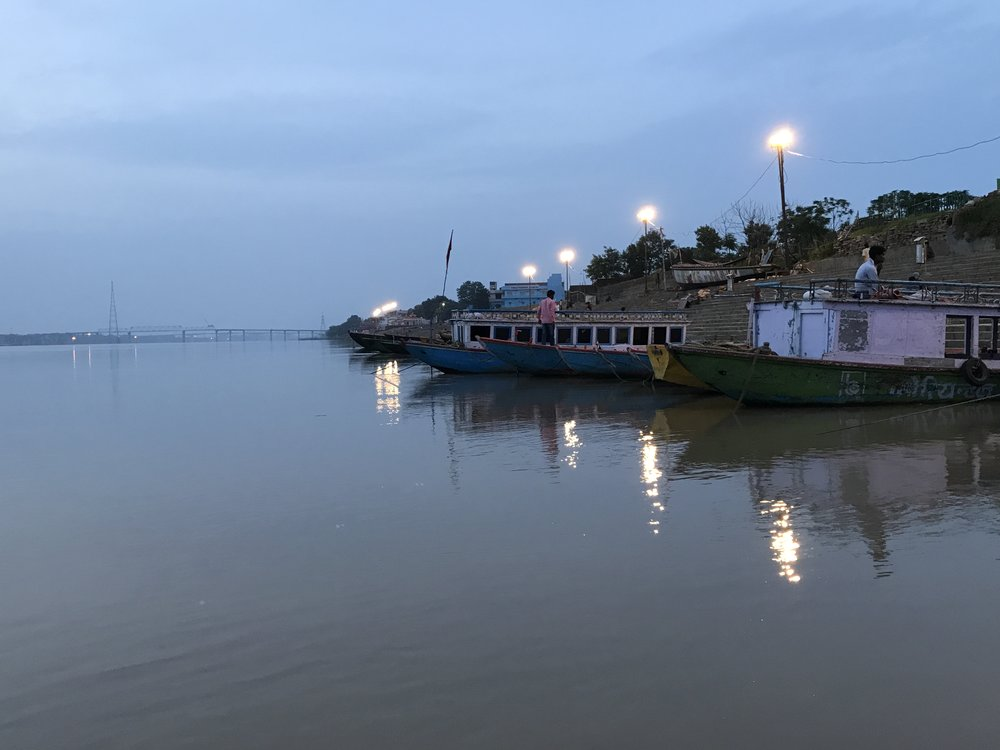 the calm, peaceful river ganga at sunrise