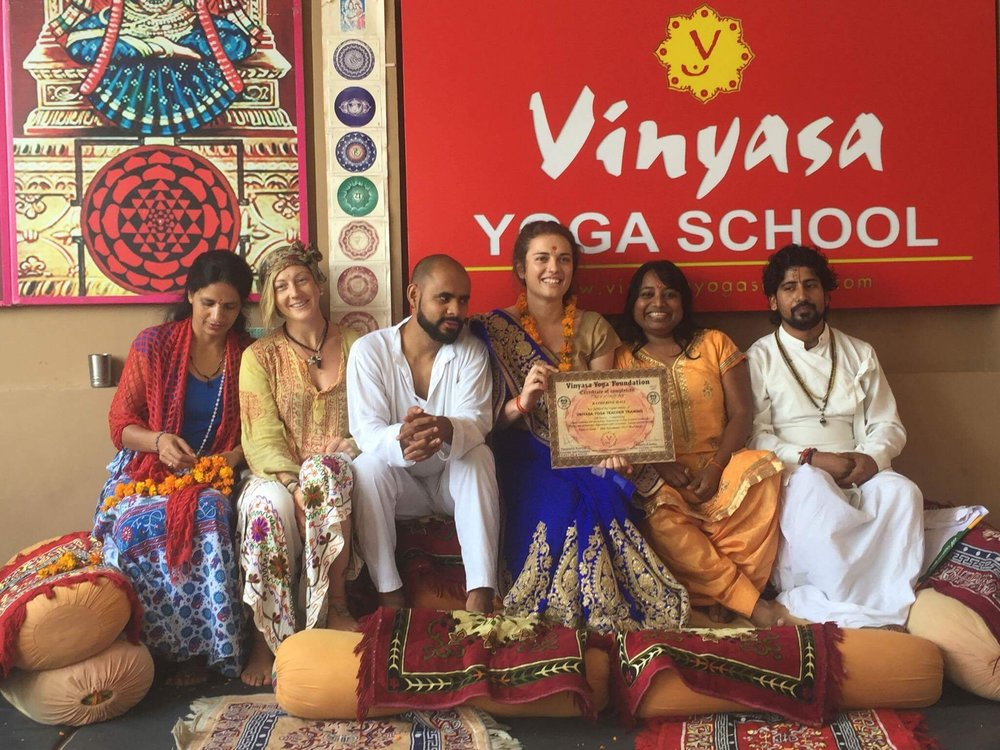 graduation day at yoga school. left to right: sarita, katie, deepak, me, pamel and mandeep