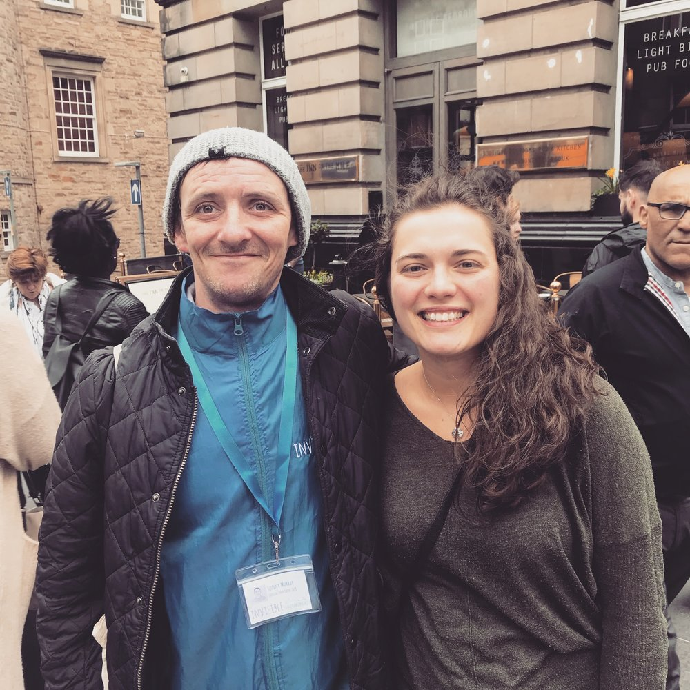 me with our walking tour guide, sonny: we went on a walking tour run by invisible cities while in edinburgh - highly recommend!