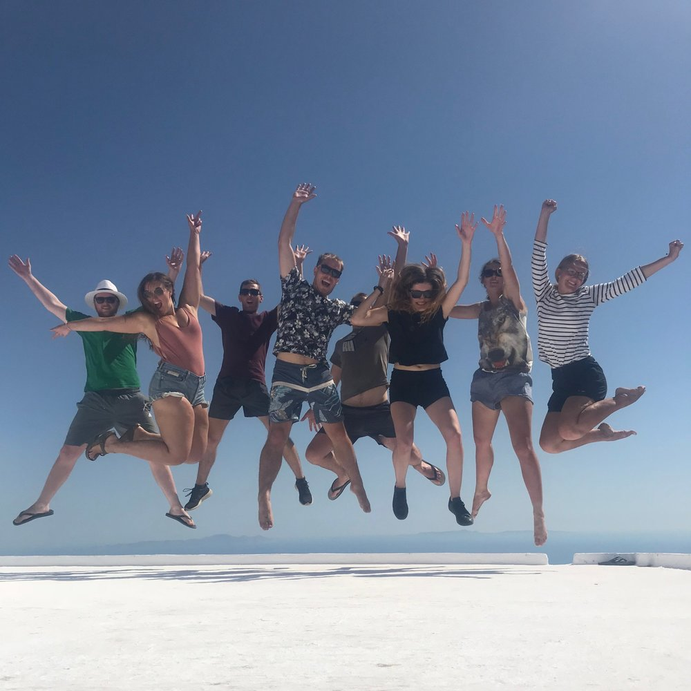 How's that for a jump shot?! Left to right: Boy, vicky, jared, alex, lance, ejay, kristy, amanda. taken on top of the church at the summit of paros.