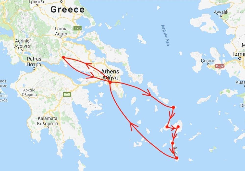 began in athens → mykonos → paros → naxos → ios → santorini → athens → delphi → return to athens