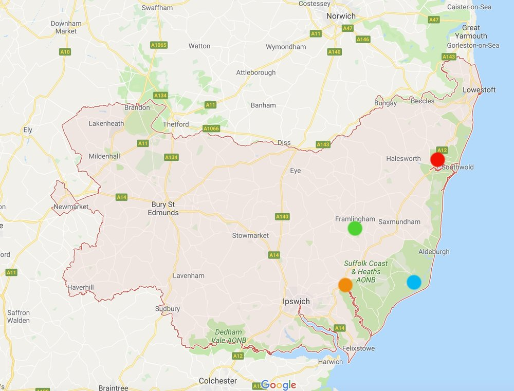 Suffolk county: red dot - southwold; green dot - framlingham; blue dot - orford; orange dot - woodbridge