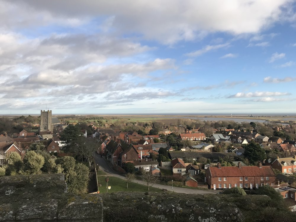 view over orford village from the top of the castle