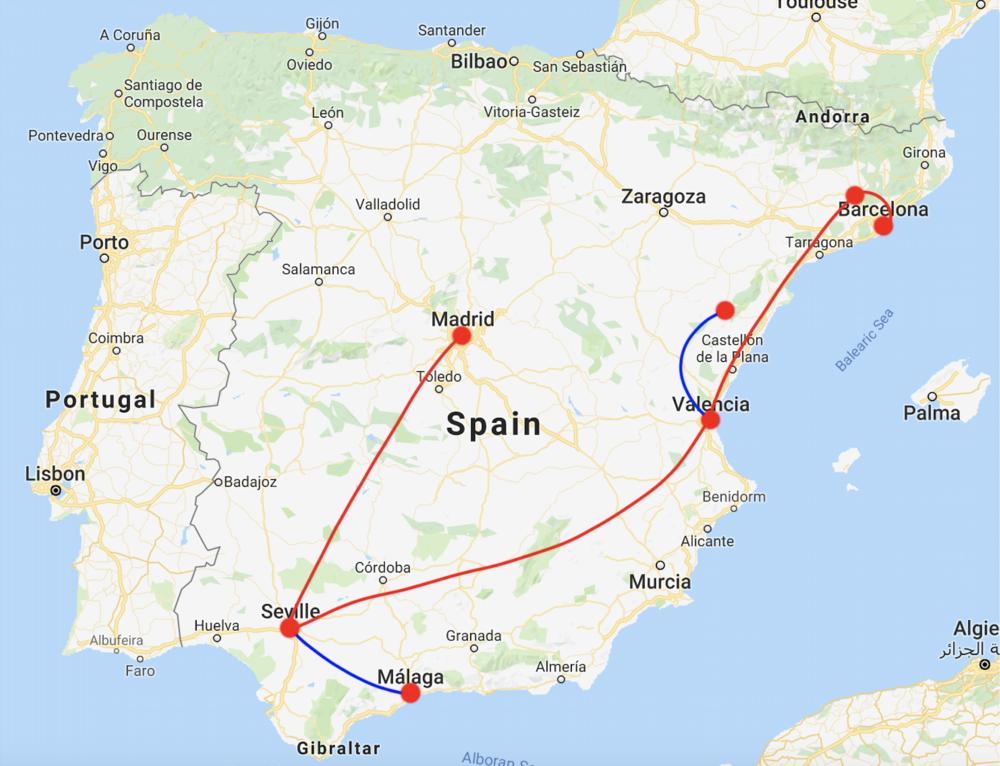 barcelona (-> montserrat) -> valencia (-> morella) -> seville (-> malaga) -> madrid