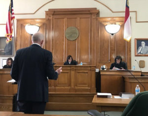 Jim Siemens presenting his argument before Judge Zachary, Chief Judge McGee and Judge Calabria.