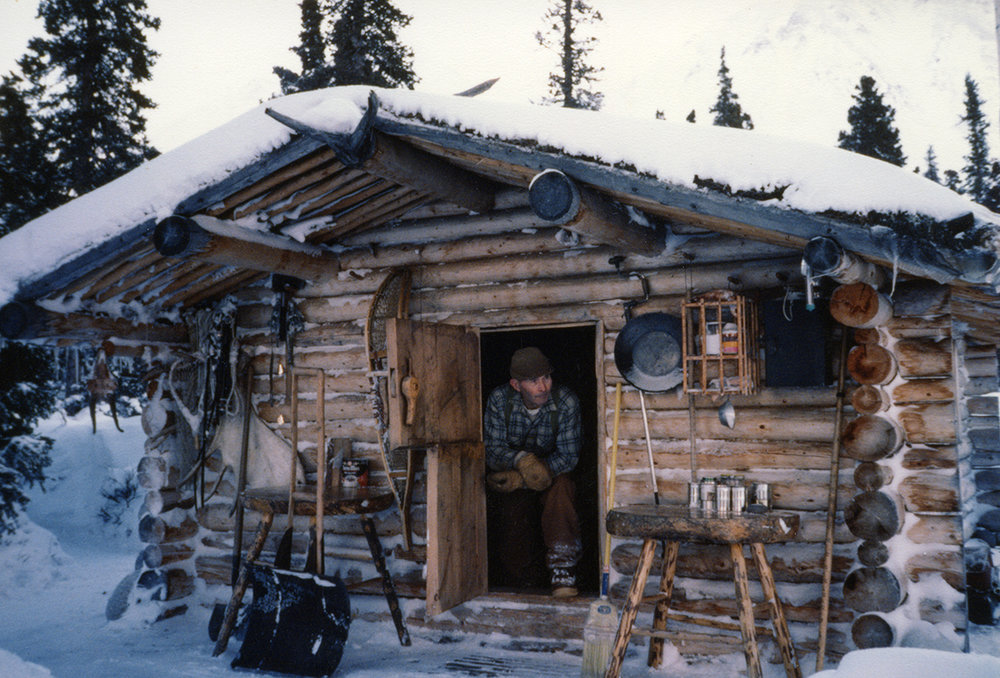 Dick and his cabin in winter