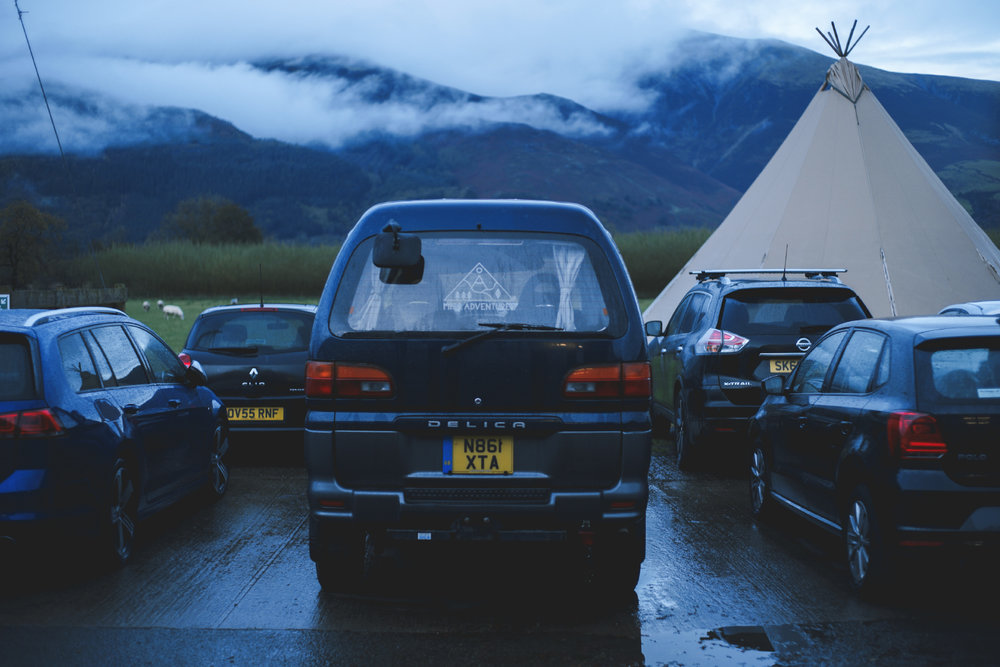 The Delica parked up at a wet and windy Millican HQ
