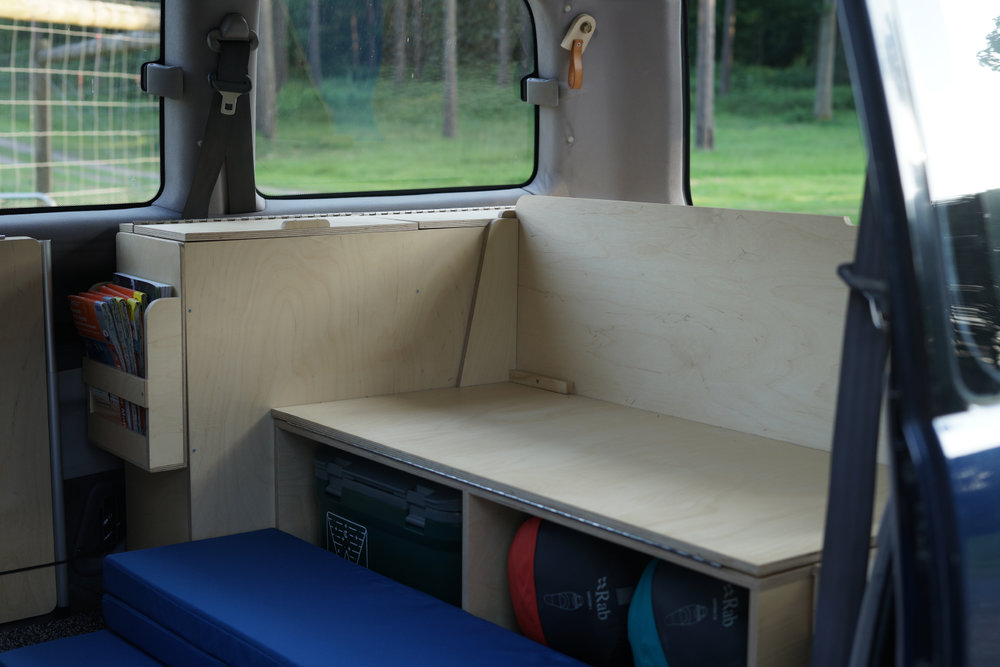 Bench seat with cushions removed