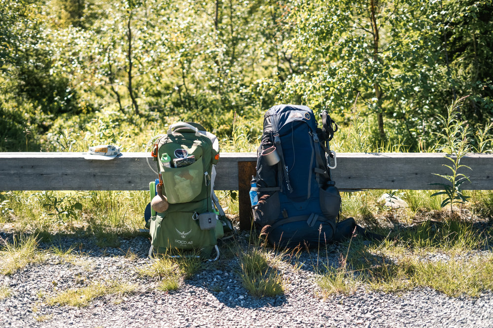 Backpacks looking well worn on the third day of our hike
