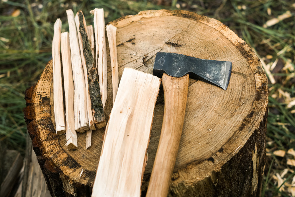 Axe and wood to split for kindling.