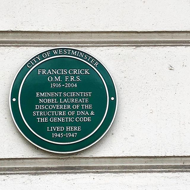 I love living and working in #london because of all the amazing things going on and the fact that you can be walking around in an unfamiliar neighbourhood and come across something unexpected ... apparently #franciscrick lived in this building in Pimlico for a while. It's partly thanks to him (and of course James Watson, Rosalind Franklin, and the many who came before them) that I get to do my job 😊 #dna #doublehelix . . . . . . . . . #science #artofscience #scienceart #labwork #laboratory #scientist #scientistsofinstagram #womeninstem #lablife #biology #genetics #sciencecommunication #sciencegeek #scienceiscool #sciencenerd #sequencing #dnasequencing