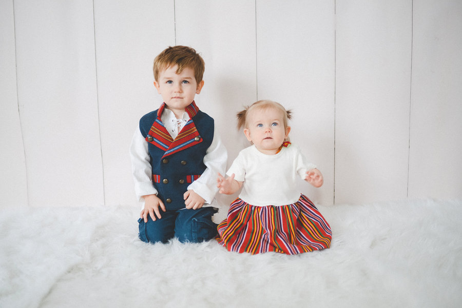 My kids in the traditional Estonian Folk costumes
