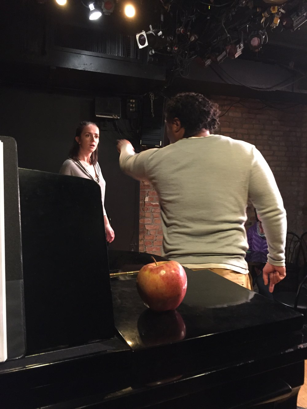 Missy Michael Jamieson as Eve, Forest Van Dyke as Adam, and an Apple during the tech rehearsal