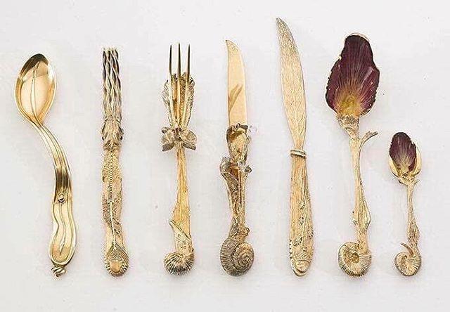 El conjunto de cubiertos hechos por el artista Salvador Dalí, 1957.
