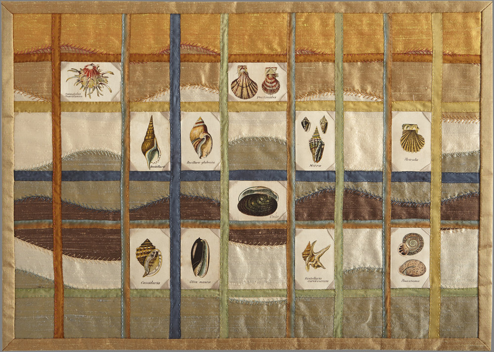 Greta Mikkelsen,  Types of Seashells , 2014; African Tobacco Company silks, 1928; silk dupioni; 26 1/2 x 19 in. Courtesy of the artist.