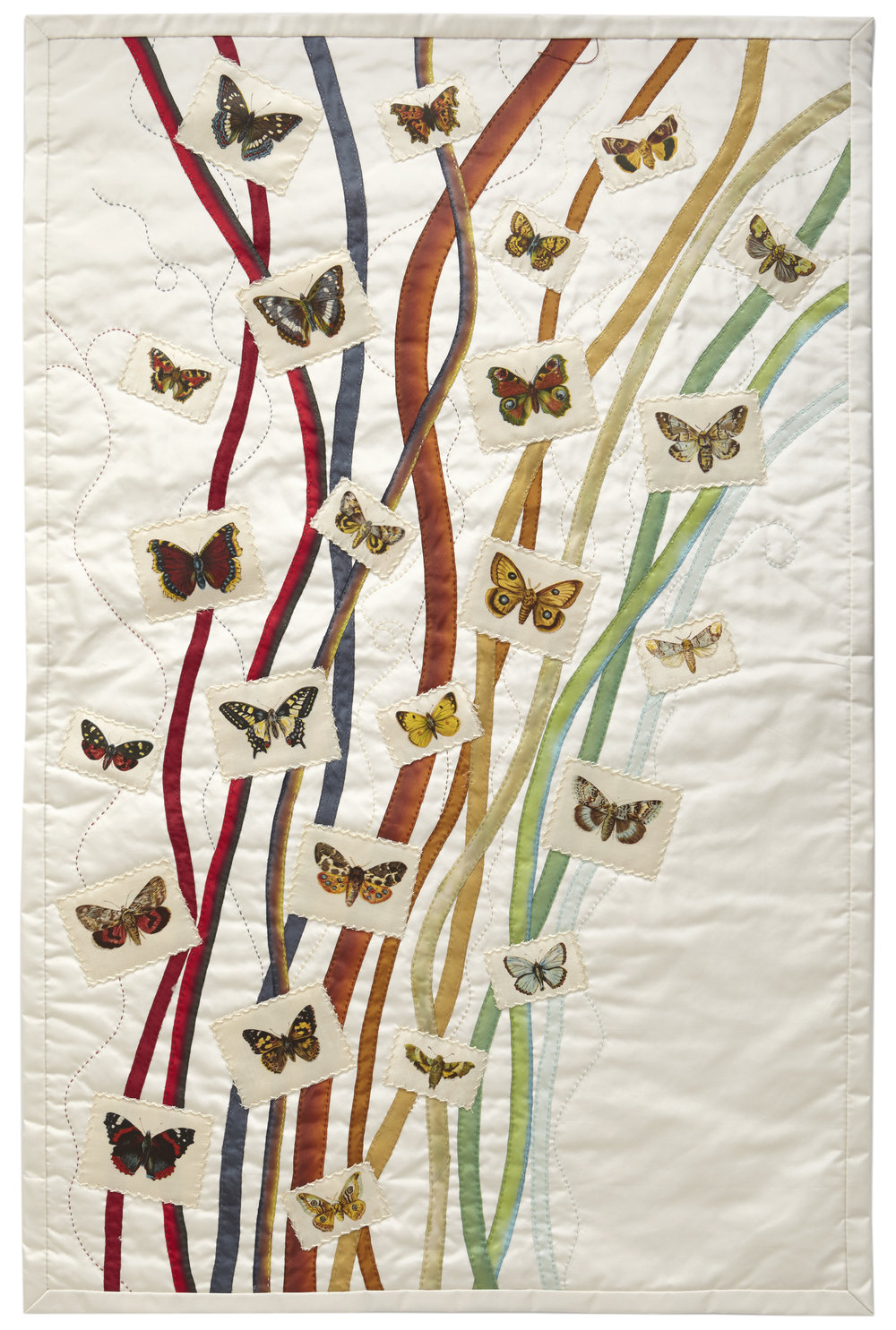 Greta Mikkelsen, Butterflies and Moths, 2015; LEA Tobacco Company silks, 1911–22; silk taffeta, hand-dyed silk ribbon; 30 x 22 in.