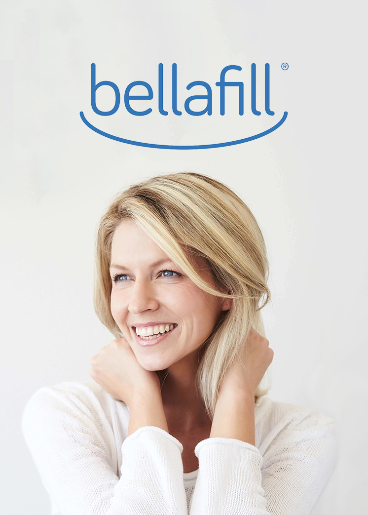 Bellafill - Suspended within Bellafill's® smooth collagen gel base are tiny polymethyl methacrylate (PMMA) microspheres. The PMMA microspheres work as a scaffolding system, supporting the development of your own collagen and laying the foundation for long-term smoothness.