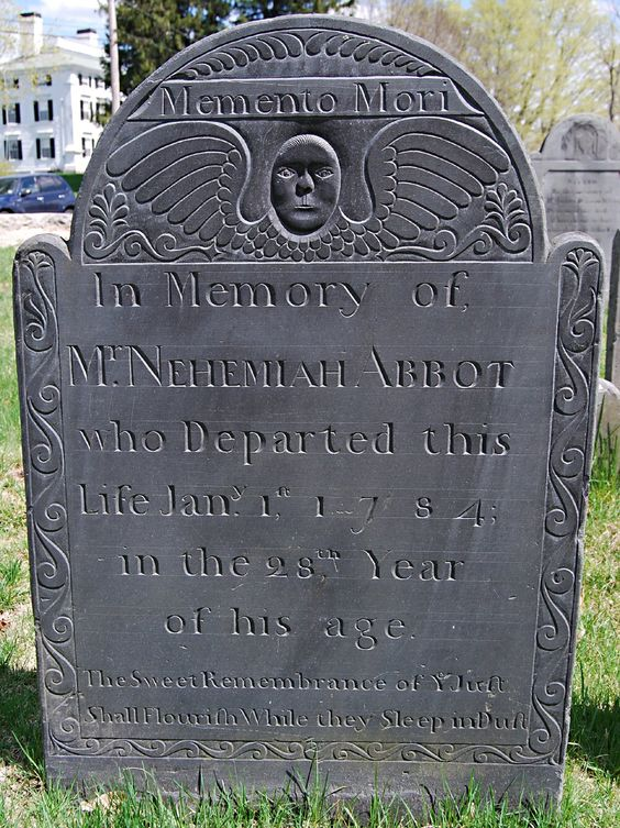 Headstone of Mr. Nehemiah Abbot (1756-1784) in the First Burying Ground.