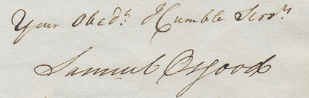 Signature of Samuel Osgood from the Archives of the North Andover Historical Society.