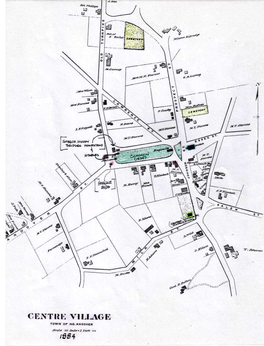 1884 Map of the Old Centre Village, Town of North Andover, MA