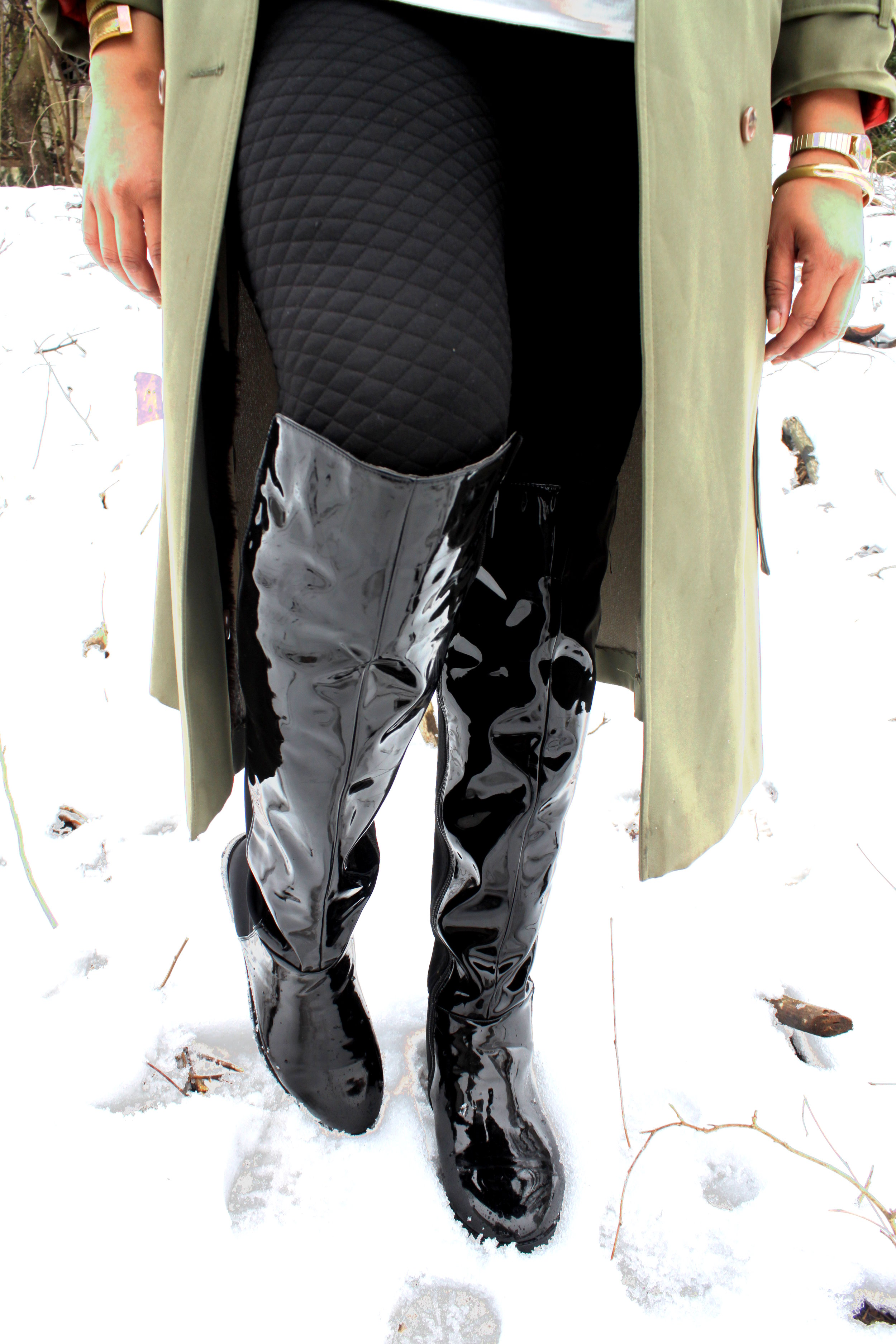 quilted pants - over the knew patent leather boots perfect for snow plu size fashion