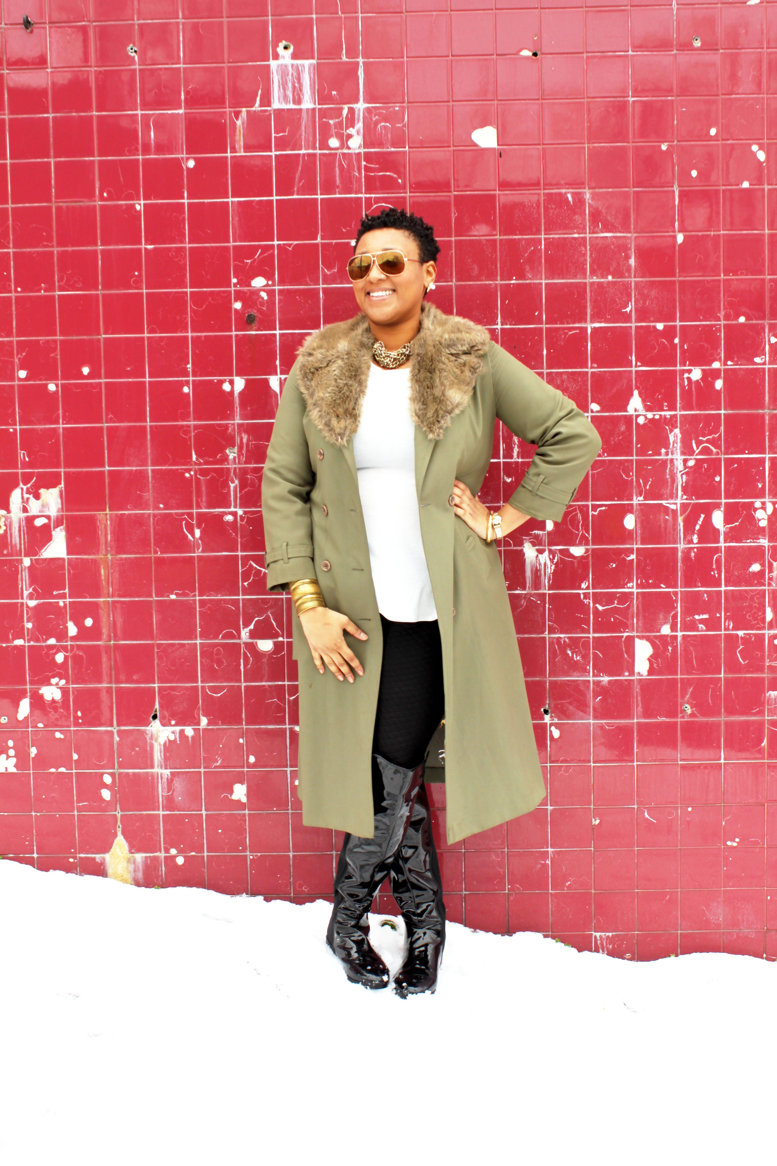 plus size fashion - patent leather over the knew boots  - thrifted trench coat - forever 21 plus peplum top