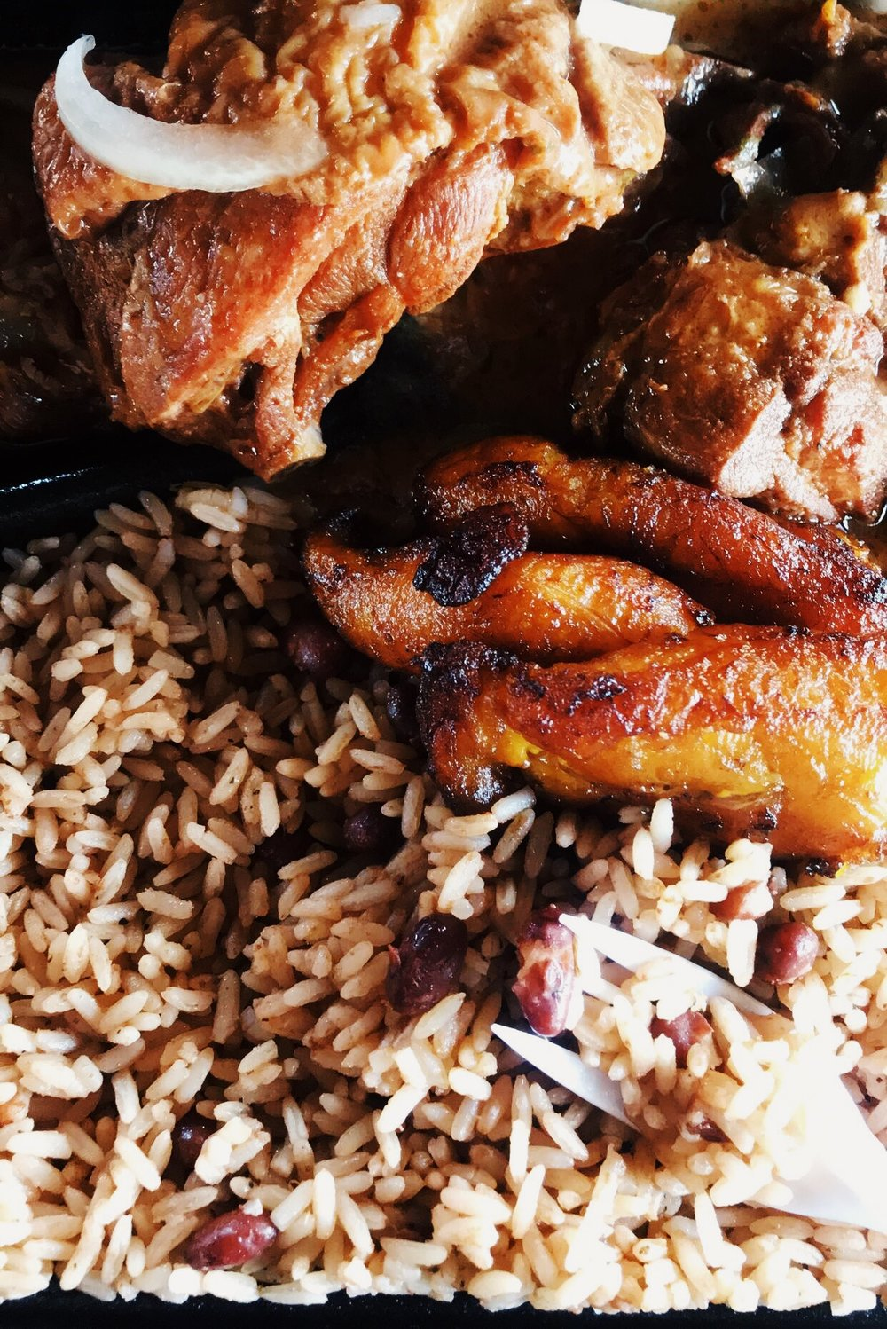 Stew Chicken, Plaintains, Beans and rice from Chef Creole