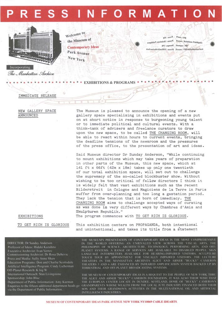 1989 Press Release Wolkenkratzer Magazine -